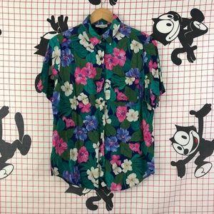 Vintage Rayon Floral Hawaiian Button Up Shirt